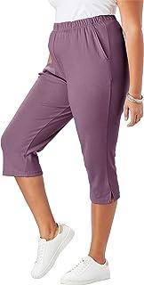 Roamans Women's Plus Size Soft Knit Capri Pant