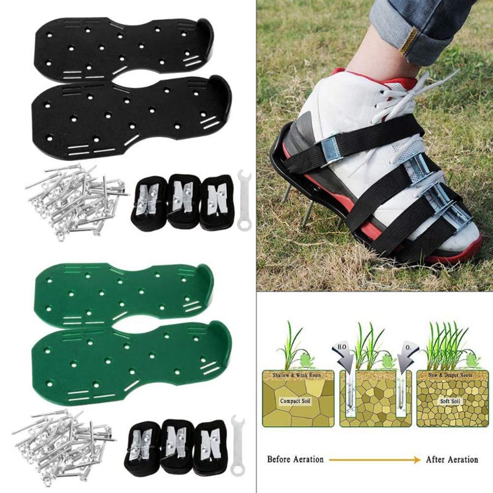 Zmin Un par de Zapatos de aireador para el césped Sandalias Espigas de Hierba Cultivador de uñas Herramienta de jardín para jardín,Green: Amazon.es: Deportes y aire libre