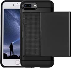 Wallet Case Compatible with iPhone 7 Plus and iPhone 8 Plus Devices (5.5 Inch) by LOND, [Card Slot] [Slider] [Carry-All Case] Wear Resistant + Anti Fall TPU+PC Shockproof Case - Black