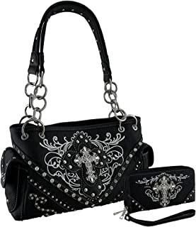 Western Embroidered Concealed Carry Purse/Wallet Set w/Rhinestone Cross