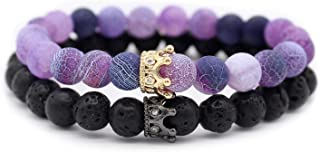 8mm Natural Stone CZ Micro Pave Crown King Queen Beads His and Hers Couple Bracelet, 7.5