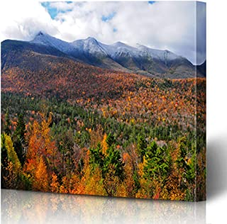 Ahawoso Canvas Prints Wall Art Printing 10x8 Orange England White Mountains New Hampshire Fall USA Nature Parks Red Landscape Forest Autumn Painting Artwork Home Living Room Office Bedroom Dorm