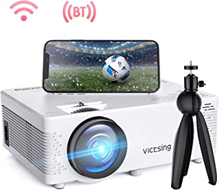 """VicTsing Mini WiFi Projector-4200L Wireless Bluetooth Projector with Tripod, 1080P 170"""" Display Supported, Compatible with TV Stick, PS4, DVD, Portable Protector for Home Entertainment?2020 New Tech?"""