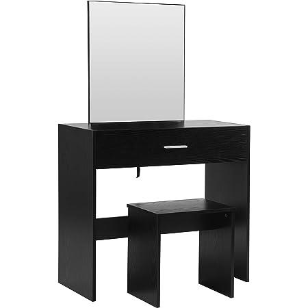WOLTU MB6043sz Coiffeuse Table avec Miroir et tiroir + Coiffeuse Tabouret,Noir