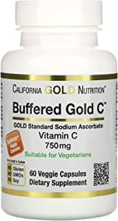 California Gold Nutrition Buffered Vitamin C Capsules, 750 mg, 60 Veggie Capsules