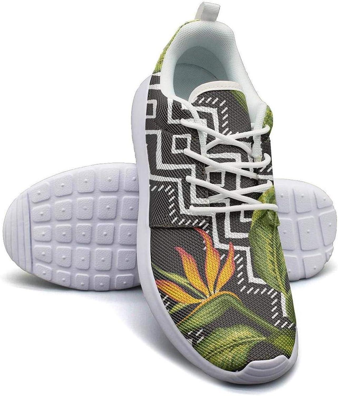 CHALi99 Lady Lightweight Mesh shoes Tropical Floral Hawaiian Jungle Art Sneakers Running Shock Absorbing