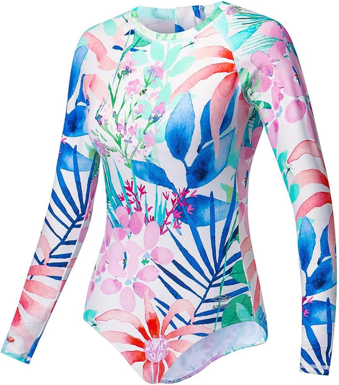 89bff27c5dc1 Wanyid New Swimsuit Women Long Sleeve One Piece Swimwear Upf50+ Print  Flamingo Back Zipper Surf Rash Guard Floral nraxet374-Sporting goods