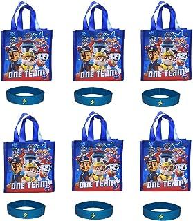 Set of 6 Paw Patrol Reusable Tote Bags/Party Favor Supplies Goodie Treat Bags & 6 Bracelets