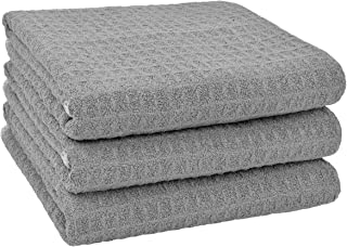 Sponsored Ad - SINLAND Microfiber Dish Towel Kitchen Drying Towels Waffle Weave Hand Towel 3 Pack 16inch X 24inch Grey