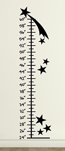 Growth Chart Stars Wall Decals Stickers Black 72