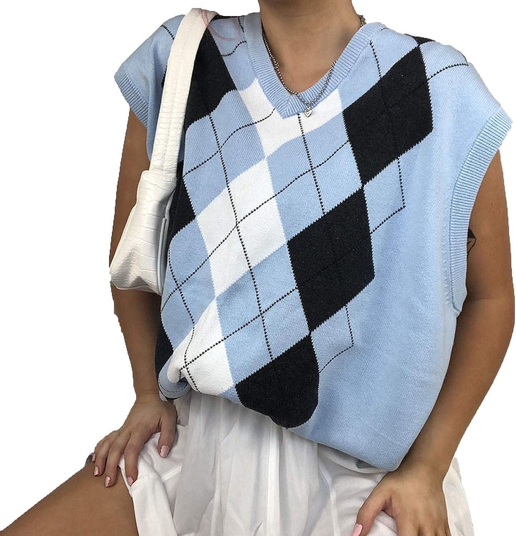Pattern Knitted Sweater Vest Women Streetwear V Neck Vintage Plaid Y2K Top 90s Loose Knitwear