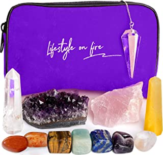 Chakra Crystals and Healing Stones Set - Includes Amethyst and Rose Quartz Crystals - Enhance Your Overall Emotional and Physical Well Being -Gemstones Great for Mindfulness, Meditation, Reiki, Gifts