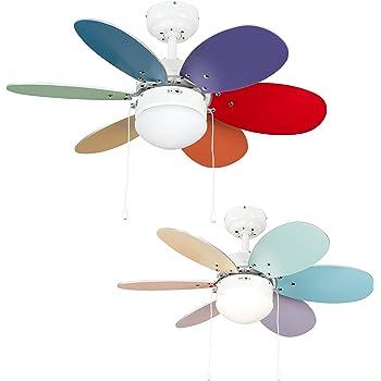Orbegozo CC65085 Ventilador de Techo con luz, 6 Palas Multicolor, diámetro 85 cm, Potencia de 55 W y 3 velocidades: Amazon.es: Hogar