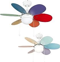MiniSun - Divertido ventilador de techo, faro con luz 'Candy' - para frío y calor, con 6 aspas reversibles multicolores [Clase de eficiencia energética A]