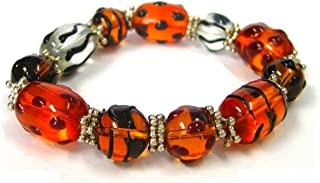Linpeng Fiona Hand Painted Glass Beads Stretch Bracelet, Animal Prints