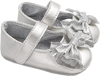 lakiolins Infant Girls Shiny Sequin Bowknot Princess Dress Shoes Photography Crib Shoes
