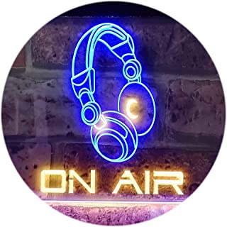 On Air Headphone Recording Studio Dual Color LED Neon Sign Blue & Yellow 300 x 210mm st6s32-s0013-by