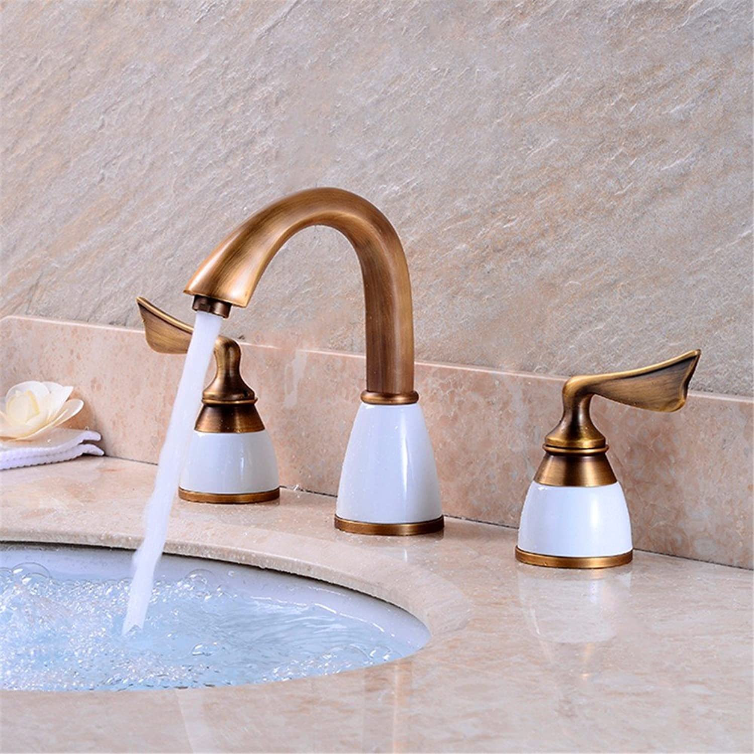 Hlluya Professional Sink Mixer Tap Kitchen Faucet Antique-brass three hole basin mixer hot and cold basin tap split sinks wash basins toilets