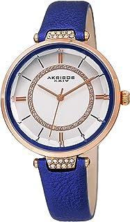 Akribos XXIV Womens Swarovski Watch - Swarovski Crystals Ring On White Dial and Crystal Filled Lug On Textured Leather Str...