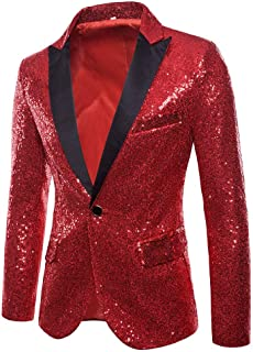 Charm Mens Shining Suit for Host One Button Blazer Coat Jacket Sequin Party Cocktail