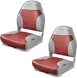 K-AXIS Set of 2 High Back Fold Down Marine Boat Seats - Perfect for Bass Fishing and Pontoon Boating