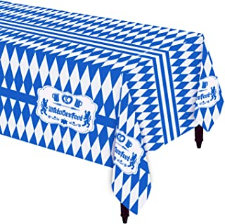 Oktoberfest Table Cloth/Cover for Party Decorations | 54''x108'' Rectangular with Blue and White Diamond | 3 Pack | Indoor...