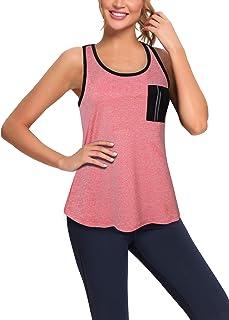 VALOLIA Womens Athletic Tank Tops Workout Shirts Mesh Racerback Sleeveless Yoga Tops with Pocket
