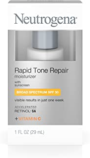 Neutrogena Rapid Tone Repair Face Moisturizer with Retinol SA, Vitamin C, Hyaluronic Acid and SPF 30 Sunscreen - SPF Moisturizer, Retinol, Vitamin C, Hyaluronic Acid, Glycerin, 1 fl. oz