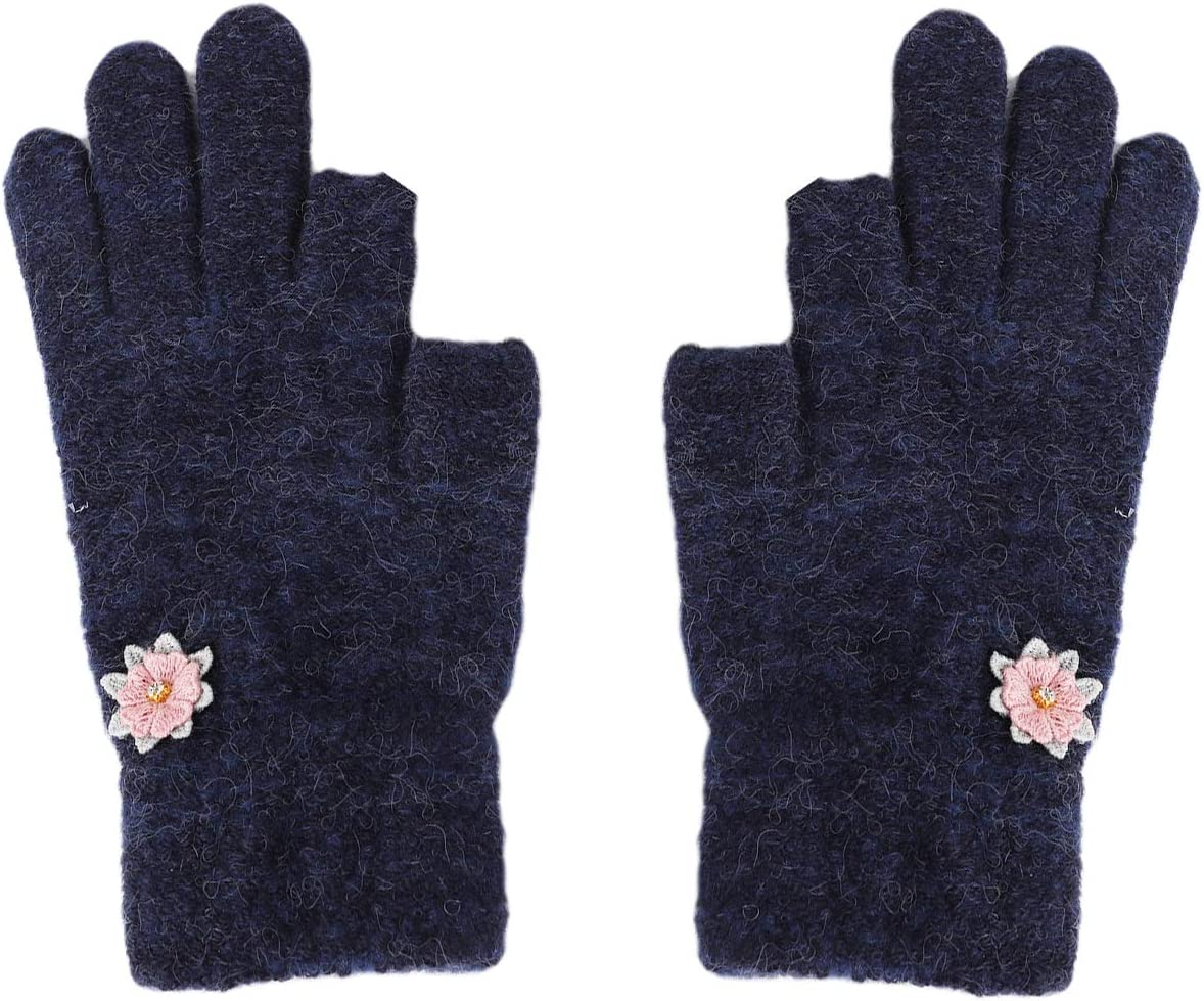 PURFUN Women Girls Winter Short Knitted Driving Cycling Reading Touch Screen Gloves