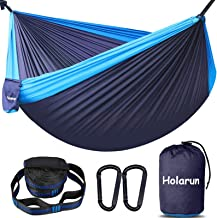 Holarun Hammock, Double Camping Hammock for 2 Adult Lightweight Parachute Hammock with Tree Straps (16+2 Loops)& Carabiner...