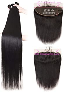 Brazilian Straight Hair Bundles With 13X6 Frontal 30 Inch Bundles With HD Transparent Lace Frontal 32 34 36 Remy Hair,10 12 14 with 8,Natural Color,Free Part