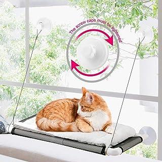 ZALALOVA Cat Window Perch, Cat Hammock Window Seat w/Free Fleece Blanket 2020 Latest Screw Suction Cups Extra Large Sturdy...