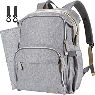 COTEY Large 30L Diaper Bag Backpack Travel Back Pack Waterproof Bookbag Baby Stuff for Mom/Dad/Two Kids (Insulated Pockets, Changing Pad, Stroller Straps, Grey)
