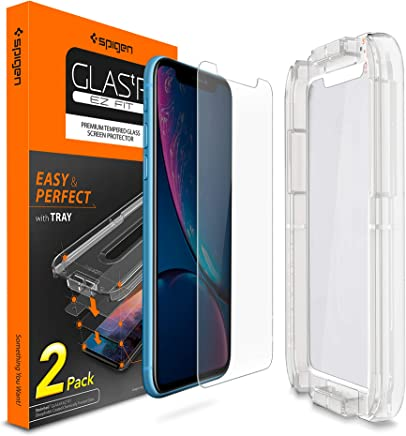 Spigen Tempered Glass Screen Protector [Installation Kit] Designed for iPhone XR [2 Pack]