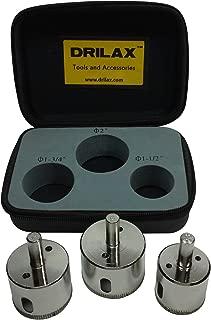 Drilax 3 Pcs Diamond Drill Bit Set Extra Tall 1-1/2
