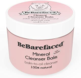 BeBarefaced Natural Facial Vegan Cleansing Balm with Mineral Pink Rose Clay & Coconut Oil - Anti Ageing Moisturising Face Cleanser for Dry Skin - Targets Wrinkles with Vitamin E - Removes Eye Makeup