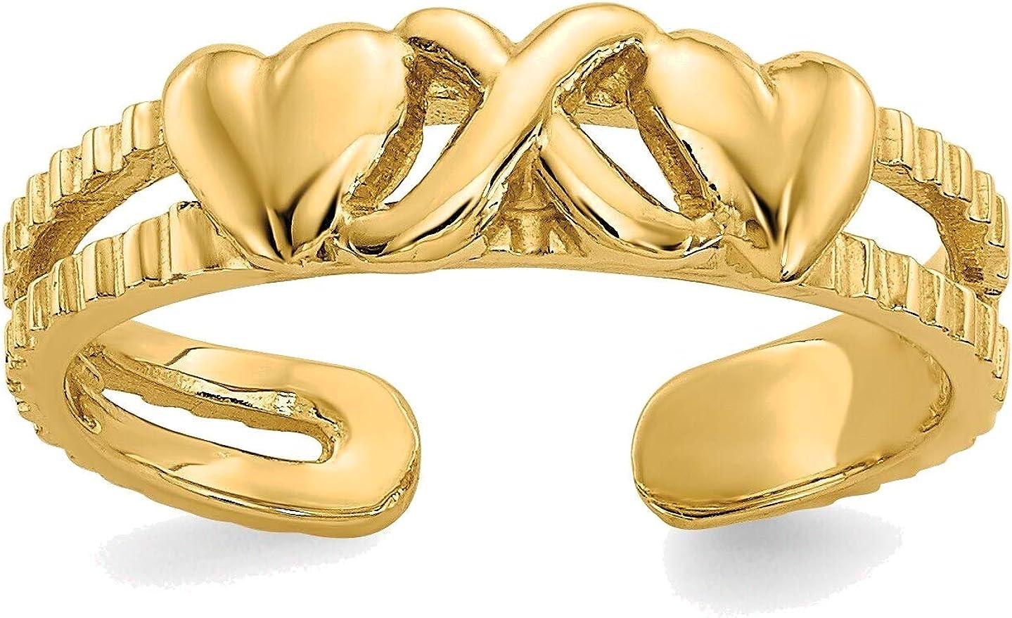 Bonyak Jewelry Hearts & X Toe Ring in 14K Yellow Gold in Size 11