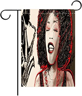 Double Sided Flag Garden Flag Holiday Decoration Afro Decor African American Girl Singing with Saxophone Player Popular Sound Design Black Light Outdoor Party Yard Flags, Decorative House Yard Flag