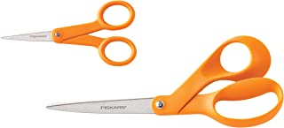 Fiskars 67517197J Original Orange-Handled Scissors 8 Inch and 5 Inch, 2-Piece Set,Black