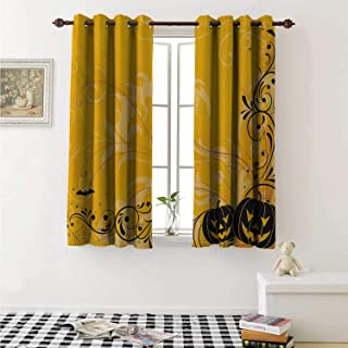 Halloween Thermal Insulating Blackout Curtain Carved Pumpkins with Floral Patterns Bats and Web Horror Jack o Lantern Artwork Curtains Girls Room W55 x L39 Inch Orange Black