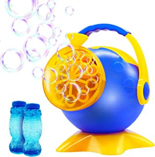 YAHO Bubble Machine, Automatic Bubble Blower Durable Bubble Makerwith 2 Bottles of Bubbles Solution Refill, Powered by Plug-in or Batteries, Over 800 Colorful BubblesPer Min, Simple and Easy to Use