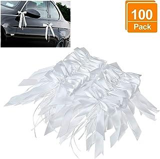 Willlingood 100 Stück Antennenschleifen Autoschleifen Autoschmuck Dekoration für Hochzeit Weiß