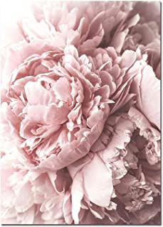 Krystal_Magic Scandinavian Art Flower Canvas Poster Pink Peony Floral Print Painting Nordic Style Wall Picture Modern Living Room Decoration,30x40cm Unframed,Picture 1