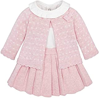 Mayoral B2287 Rose Pink Knitted Skirt, Cardigan, and Shirt Outfit