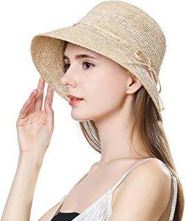 Jeff & Aimy Womens 100% Raffia Straw Summer Beach Sun Hat Wide Brim Packable & Adjustable 55-58CM