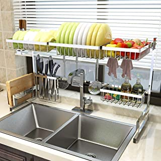 "Over Sink(33"") Dish Drying Rack, Drainer Shelf for Kitchen Supplies Storage Counter Organizer Utensils Holder Stainless Steel Display- Kitchen Space Save Must Have (Sink size≤33 1/2 inch, silver)"