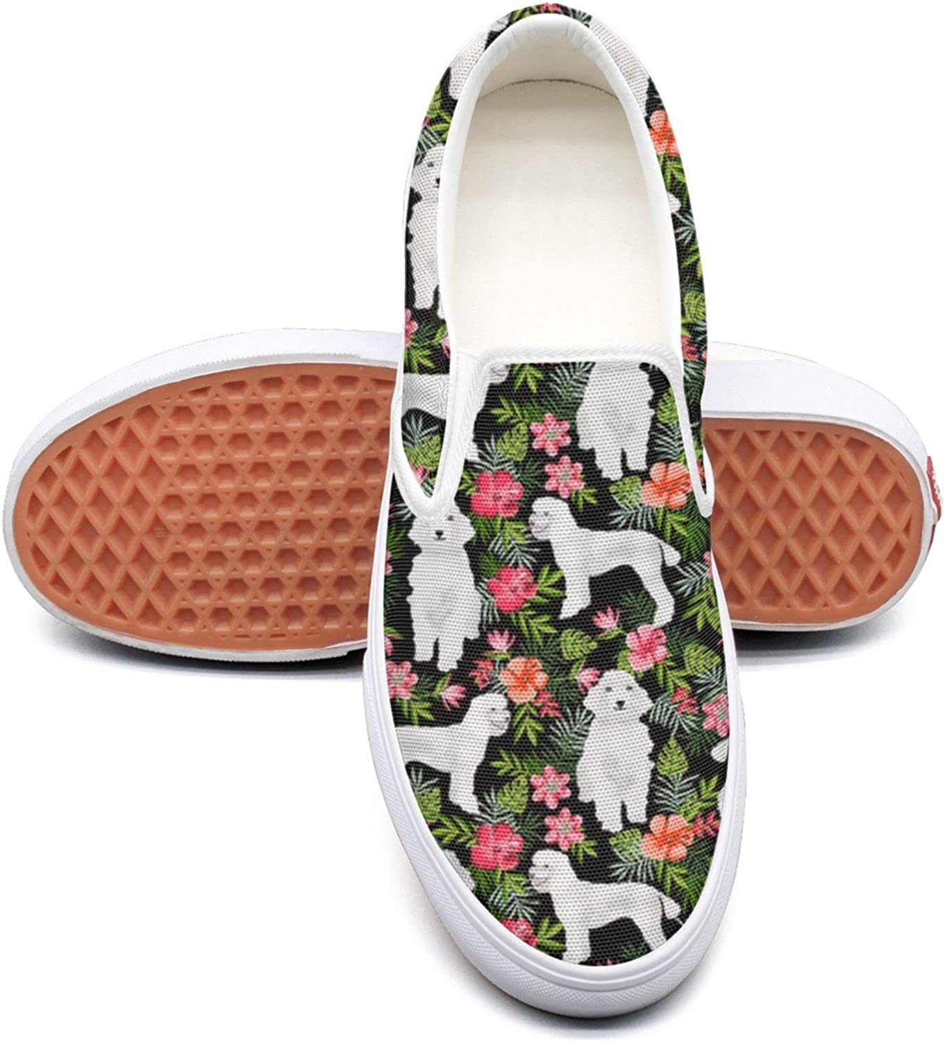 SEERTED White Poodle Dog Hawaiian Floral Sneaker Women Wide