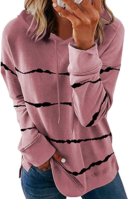 Sweatshirts for Women,Women's Fashion Casual Stripe Print Hooded Loose Long Sleeve Shirts Tops