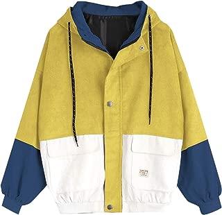 RkBaoye Women's Corduroy Drawstring Front Zipper Hood Outwear Coat Jacket