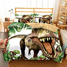 3 Pcs Double Size Green 3D Cute Dinosaur Cartoon Printing Duvet Cover Sets Soft Hypoallergenic Fabric Polyester Microfiber...